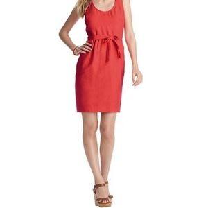 Loft Linen Fit and Flare Cutout Dress
